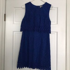 Royal Blue Embroidered Lace Dress